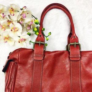 Genuine Leather Red Hype Satchel Handbag
